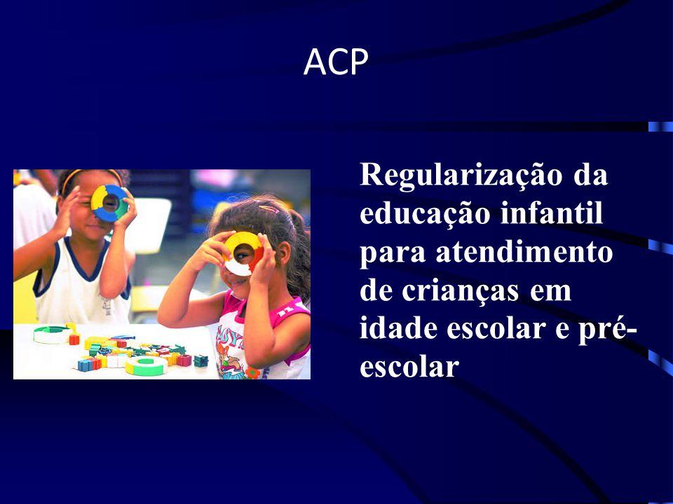 ACP Regularização da educação infantil para atendimento de crianças em idade escolar e pré-escolar