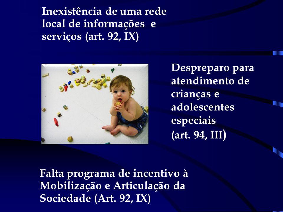 Inexistência de uma rede local de informações e serviços (art. 92, IX)