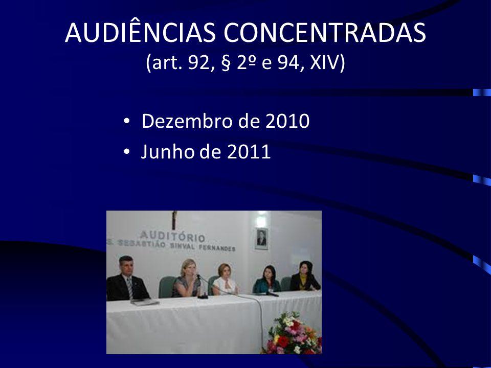 AUDIÊNCIAS CONCENTRADAS (art. 92, § 2º e 94, XIV)