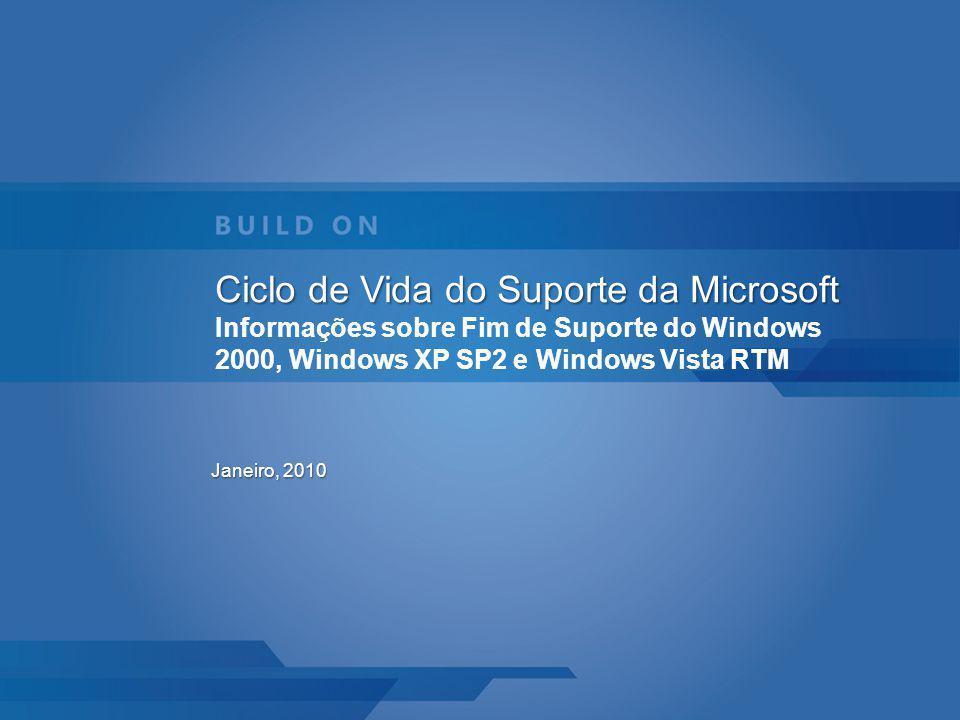 Ciclo de Vida do Suporte da Microsoft Informações sobre Fim de Suporte do Windows 2000, Windows XP SP2 e Windows Vista RTM