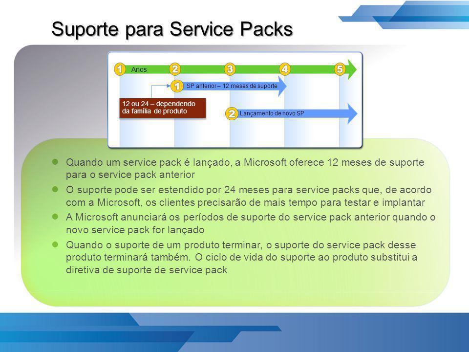 Suporte para Service Packs