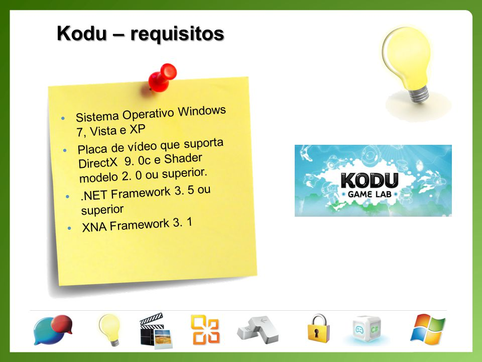 Kodu – requisitos Sistema Operativo Windows 7, Vista e XP