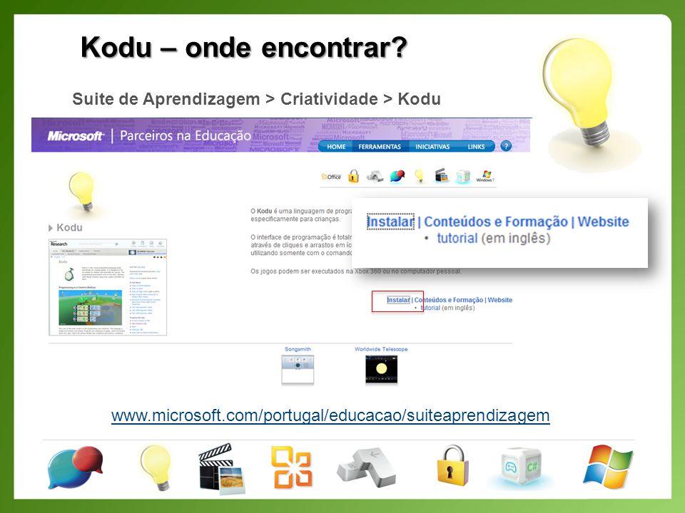 Kodu – onde encontrar. Suite de Aprendizagem > Criatividade > Kodu.