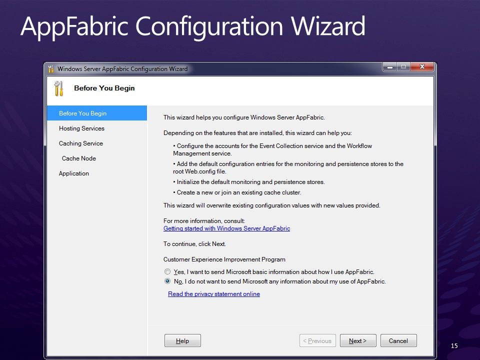 AppFabric Configuration Wizard