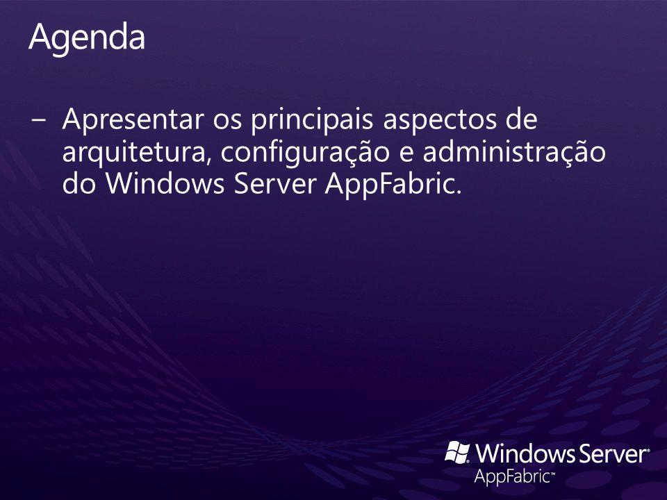 Agenda Apresentar os principais aspectos de arquitetura, configuração e administração do Windows Server AppFabric.