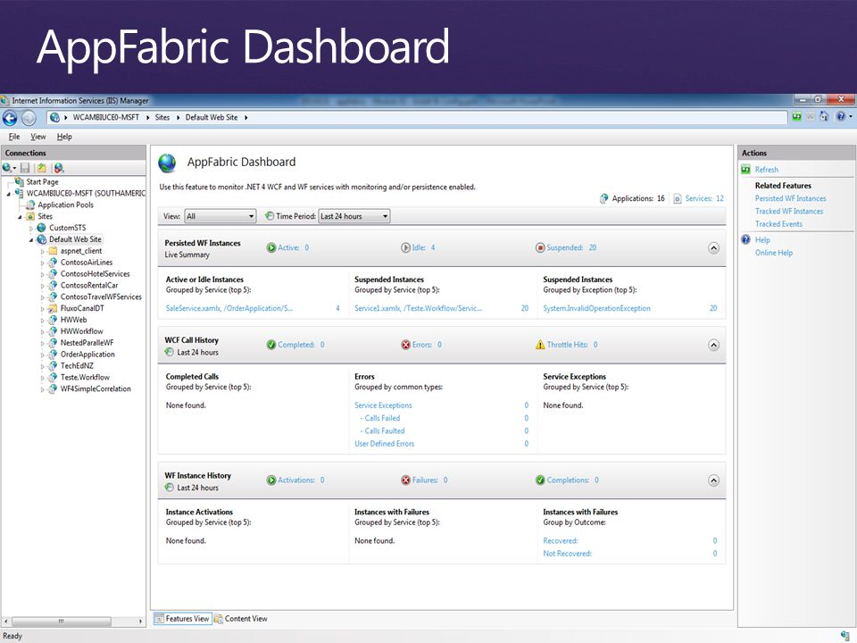 AppFabric Dashboard