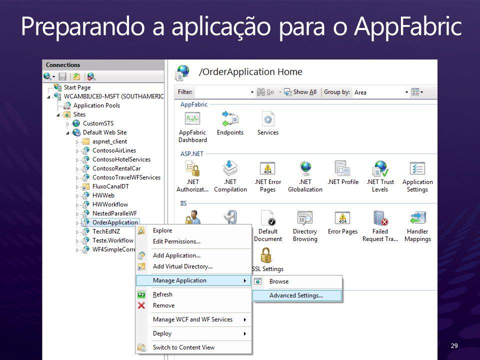 Preparando a aplicação para o AppFabric