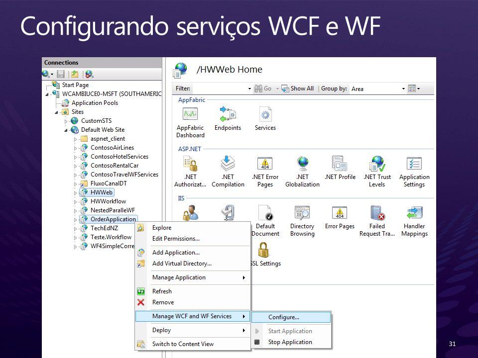 Configurando serviços WCF e WF