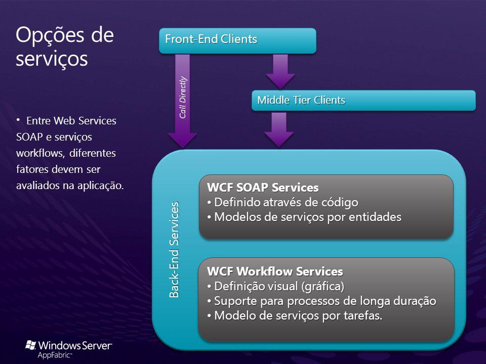 Opções de serviços Front-End Clients Back-End Services