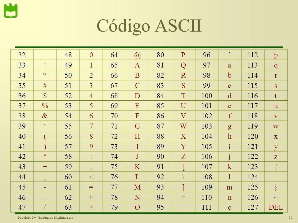 Código ASCII 32. 48. 64. @ 80. P. 96. ` 112. p. 33. ! 49. 1. 65. A. 81. Q. 97. a.