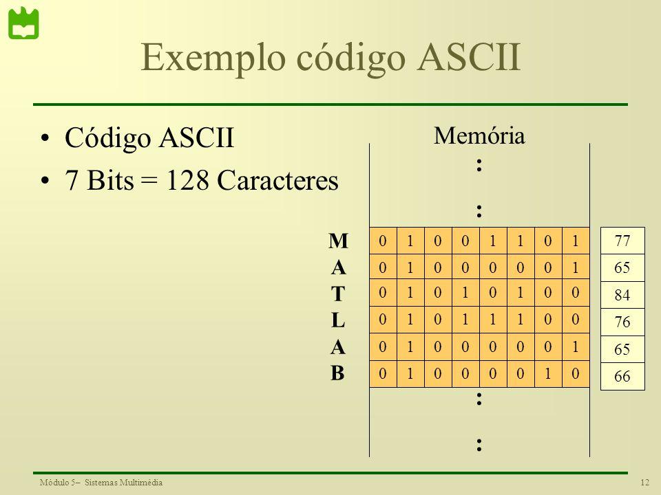 Exemplo código ASCII Código ASCII 7 Bits = 128 Caracteres Memória : :