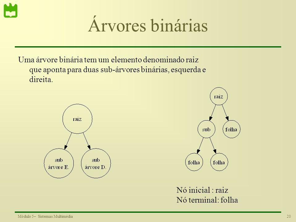 Árvores binárias Uma árvore binária tem um elemento denominado raiz que aponta para duas sub-árvores binárias, esquerda e direita.