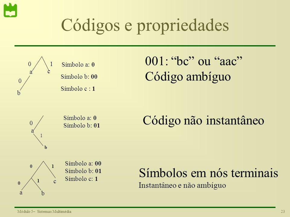 Códigos e propriedades