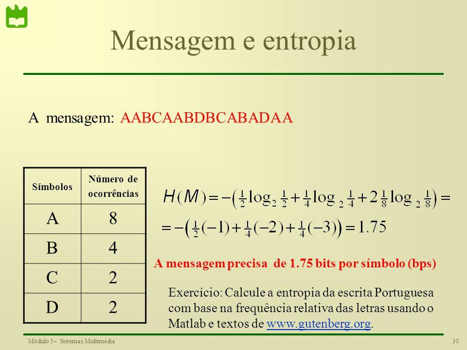 Mensagem e entropia A 8 B 4 C 2 D A mensagem: AABCAABDBCABADAA