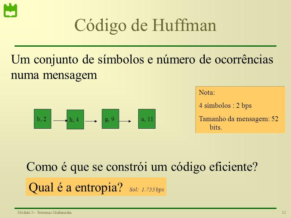 Código de Huffman Um conjunto de símbolos e número de ocorrências
