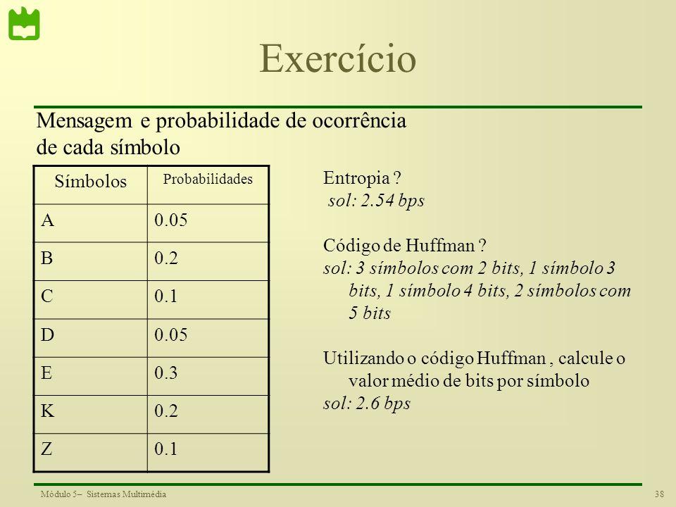 Exercício Mensagem e probabilidade de ocorrência de cada símbolo