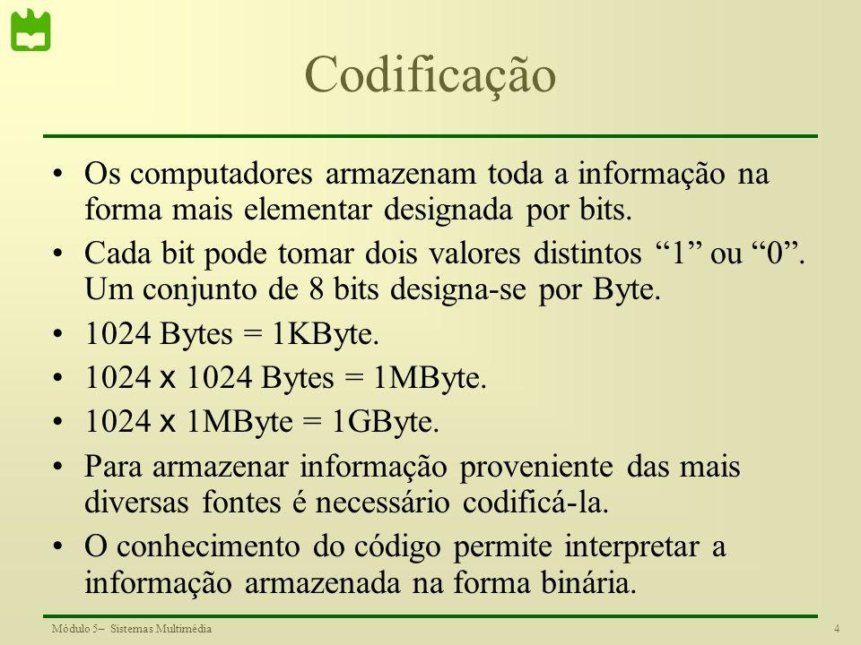 Codificação Os computadores armazenam toda a informação na forma mais elementar designada por bits.