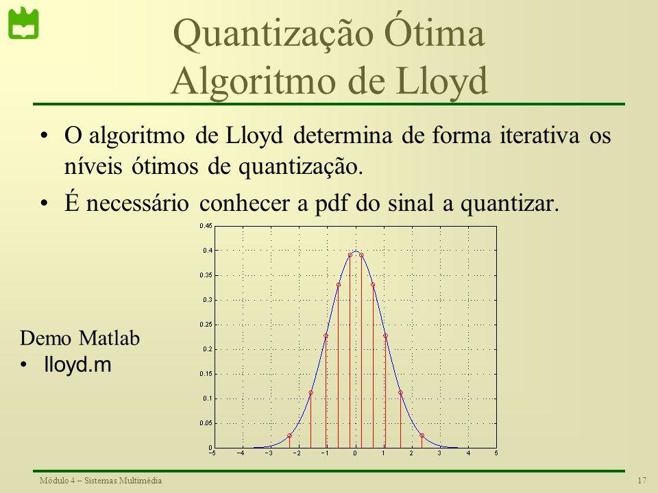 Quantização Ótima Algoritmo de Lloyd