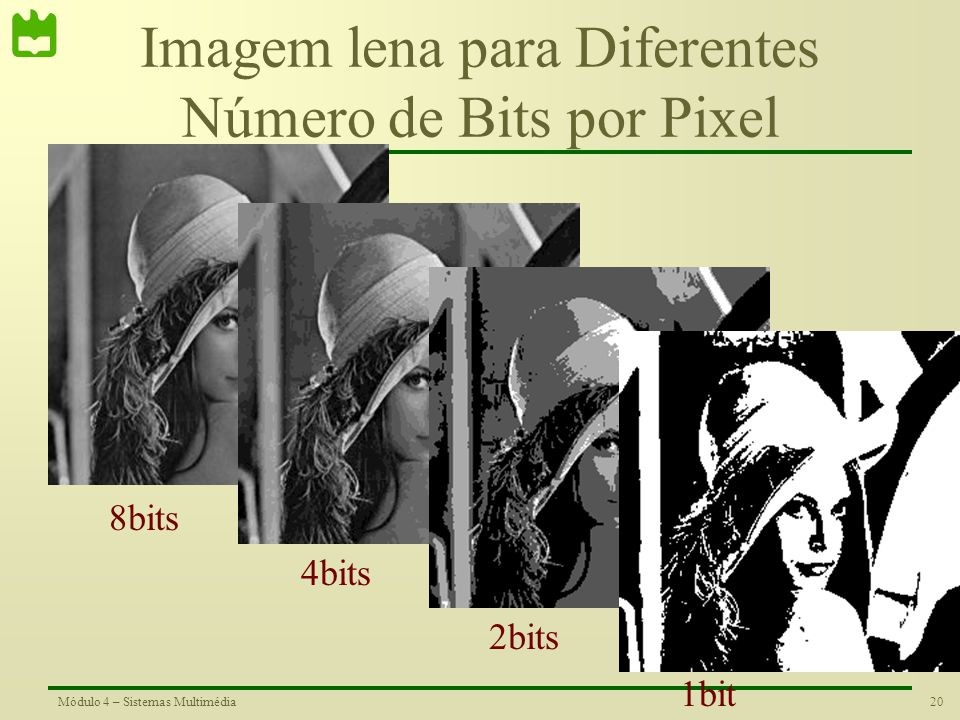 Imagem lena para Diferentes Número de Bits por Pixel