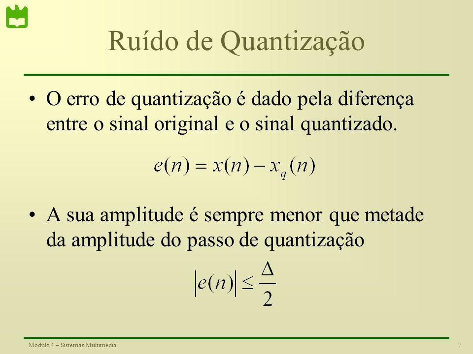 Ruído de Quantização O erro de quantização é dado pela diferença entre o sinal original e o sinal quantizado.