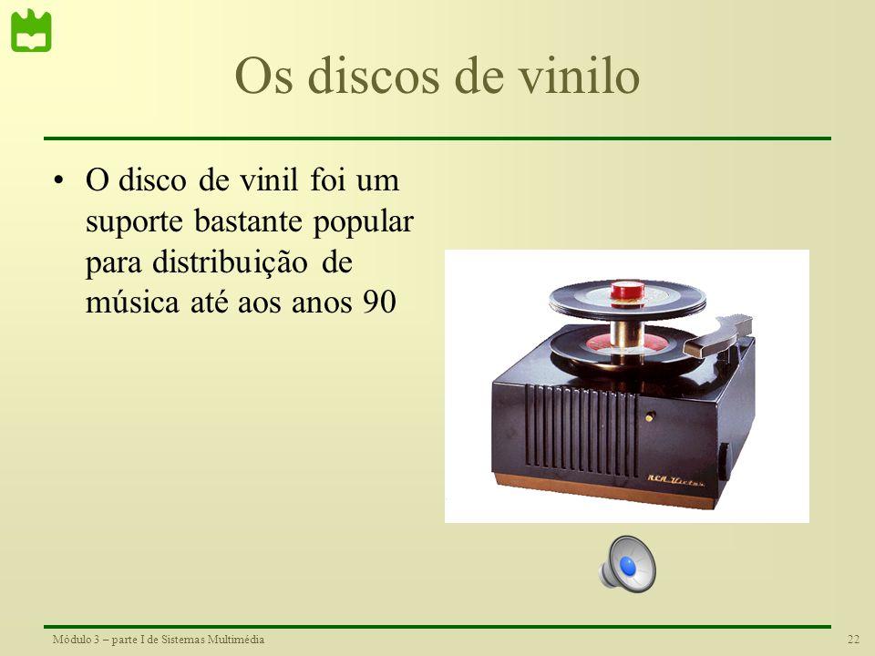 Os discos de vinilo O disco de vinil foi um suporte bastante popular para distribuição de música até aos anos 90.