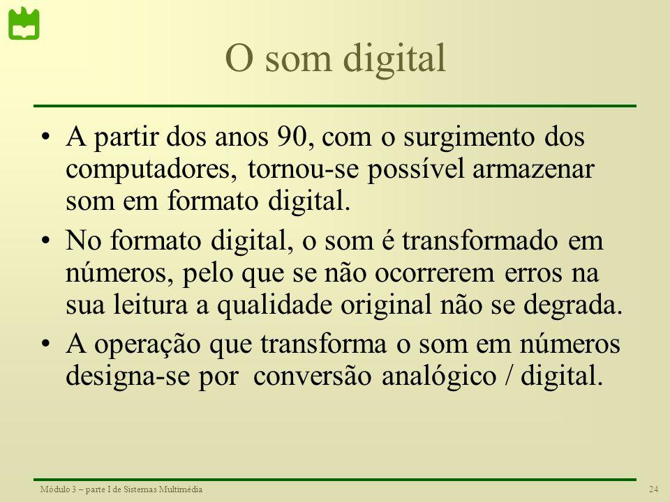 O som digital A partir dos anos 90, com o surgimento dos computadores, tornou-se possível armazenar som em formato digital.