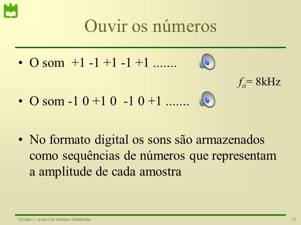 Ouvir os números O som +1 -1 +1 -1 +1 .......