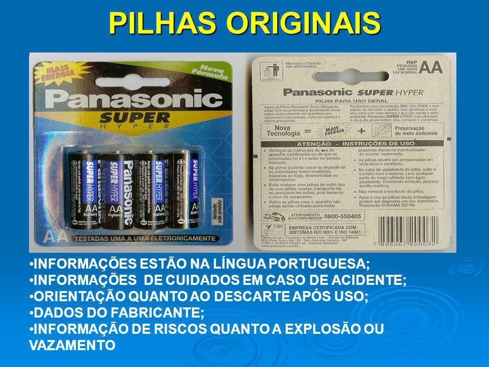 PILHAS ORIGINAIS INFORMAÇÕES ESTÃO NA LÍNGUA PORTUGUESA;