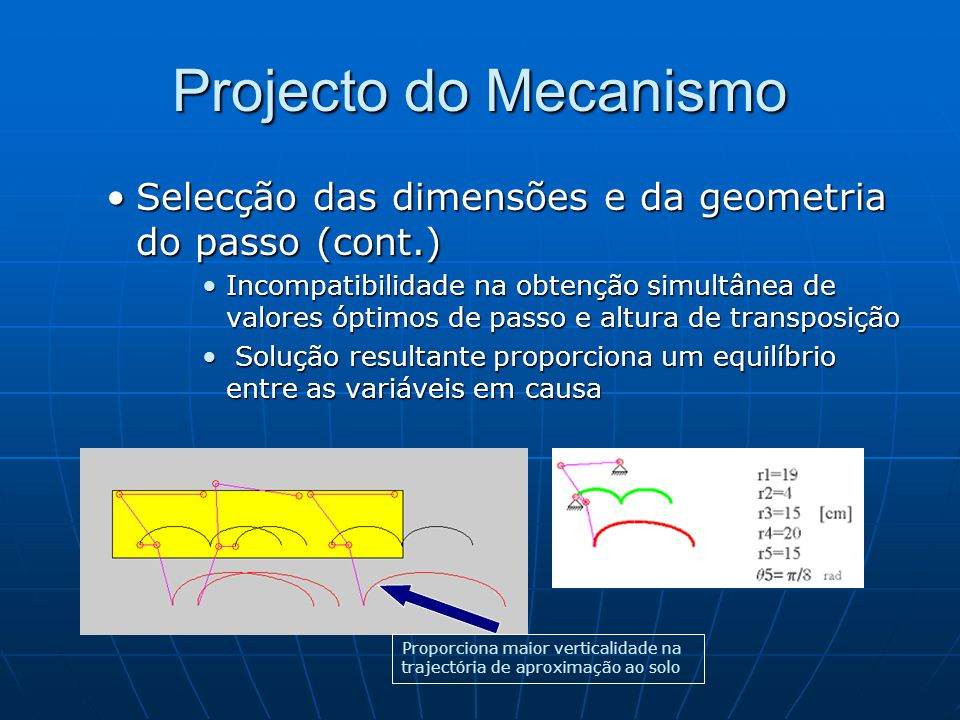 Projecto do Mecanismo Selecção das dimensões e da geometria do passo (cont.)