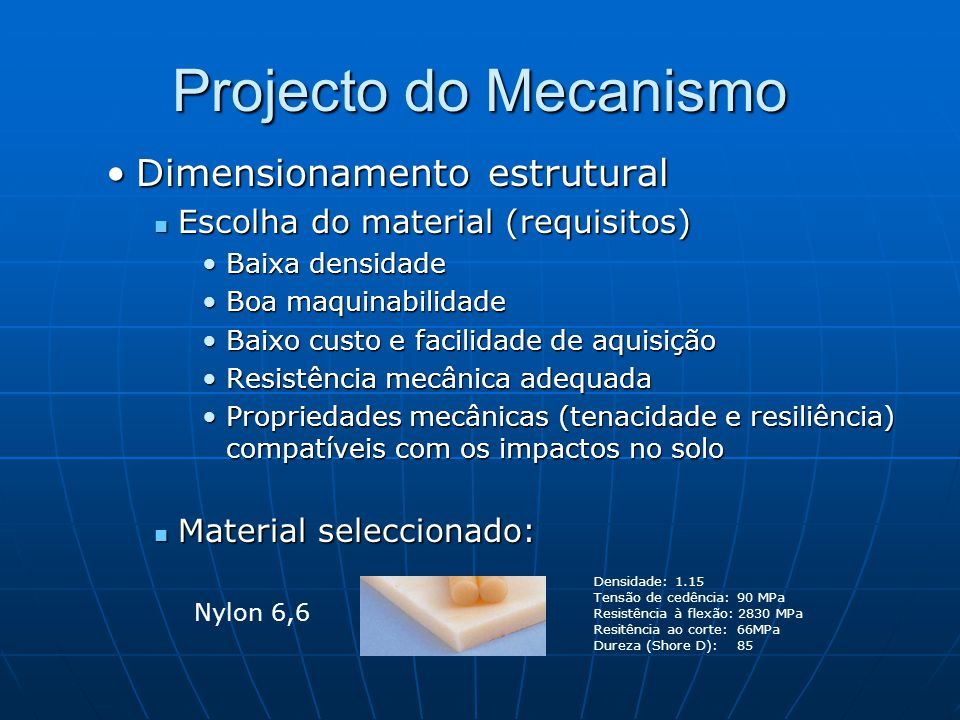 Projecto do Mecanismo Dimensionamento estrutural