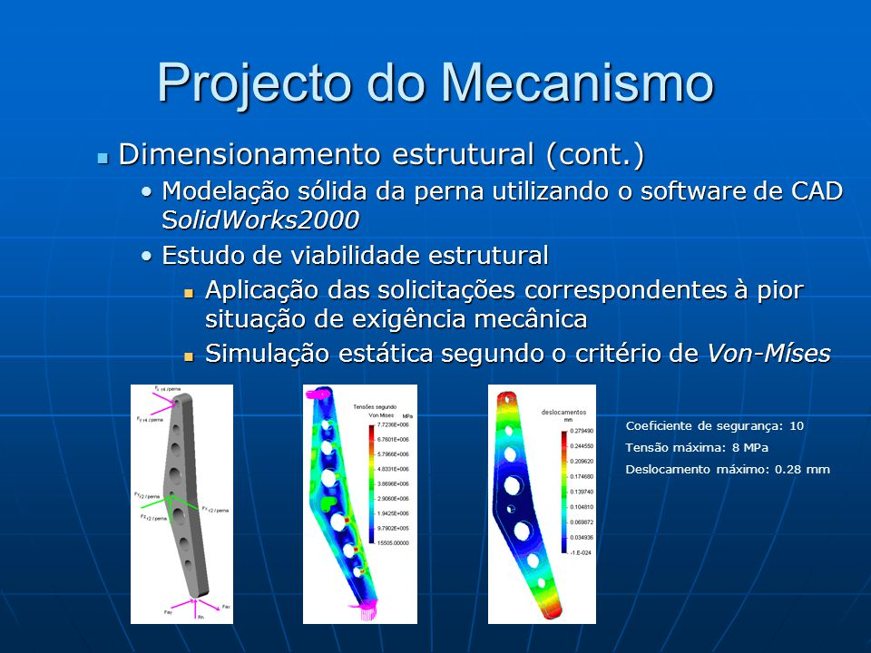 Projecto do Mecanismo Dimensionamento estrutural (cont.)