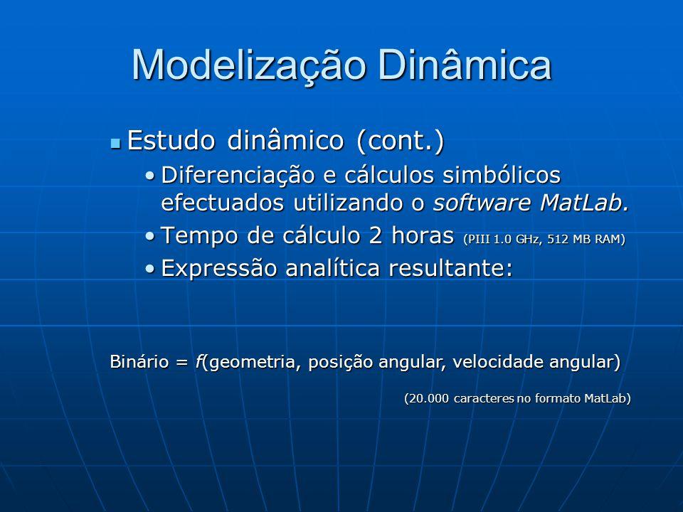 Modelização Dinâmica Estudo dinâmico (cont.)
