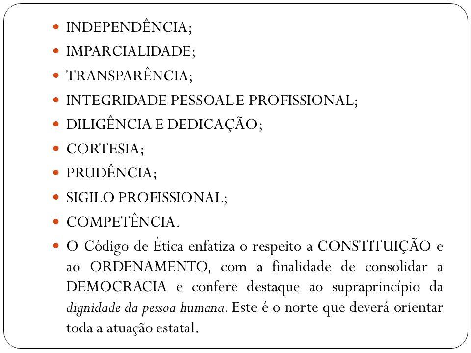 INDEPENDÊNCIA; IMPARCIALIDADE; TRANSPARÊNCIA; INTEGRIDADE PESSOAL E PROFISSIONAL; DILIGÊNCIA E DEDICAÇÃO;