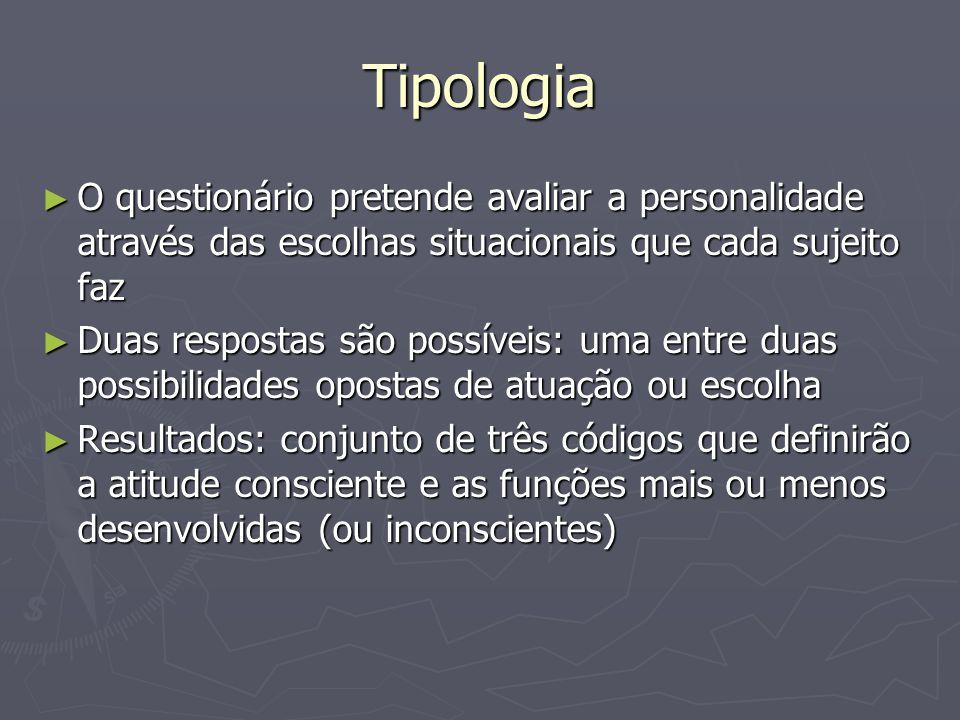 Tipologia O questionário pretende avaliar a personalidade através das escolhas situacionais que cada sujeito faz.
