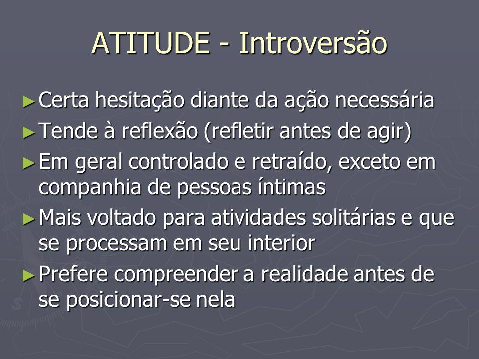 ATITUDE - Introversão Certa hesitação diante da ação necessária