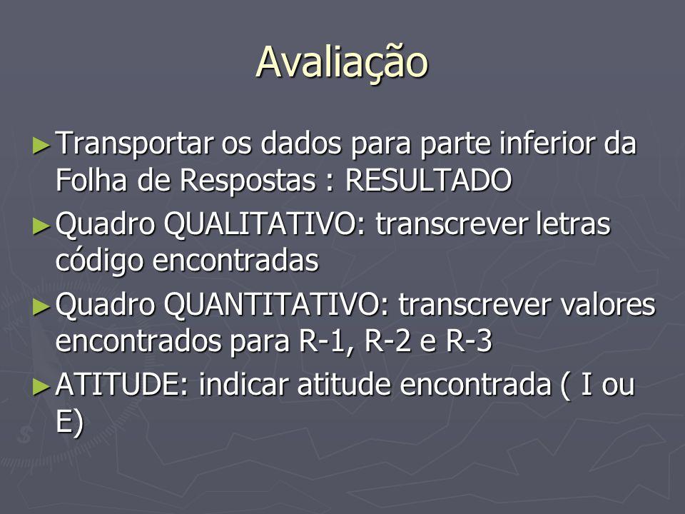 Avaliação Transportar os dados para parte inferior da Folha de Respostas : RESULTADO. Quadro QUALITATIVO: transcrever letras código encontradas.