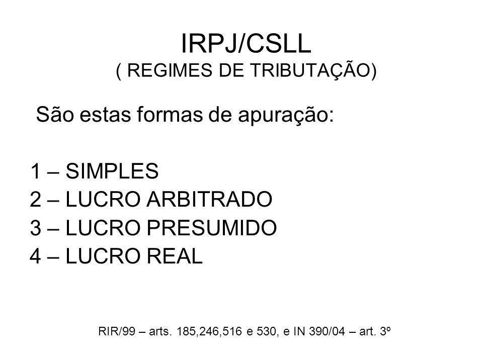 IRPJ/CSLL ( REGIMES DE TRIBUTAÇÃO)