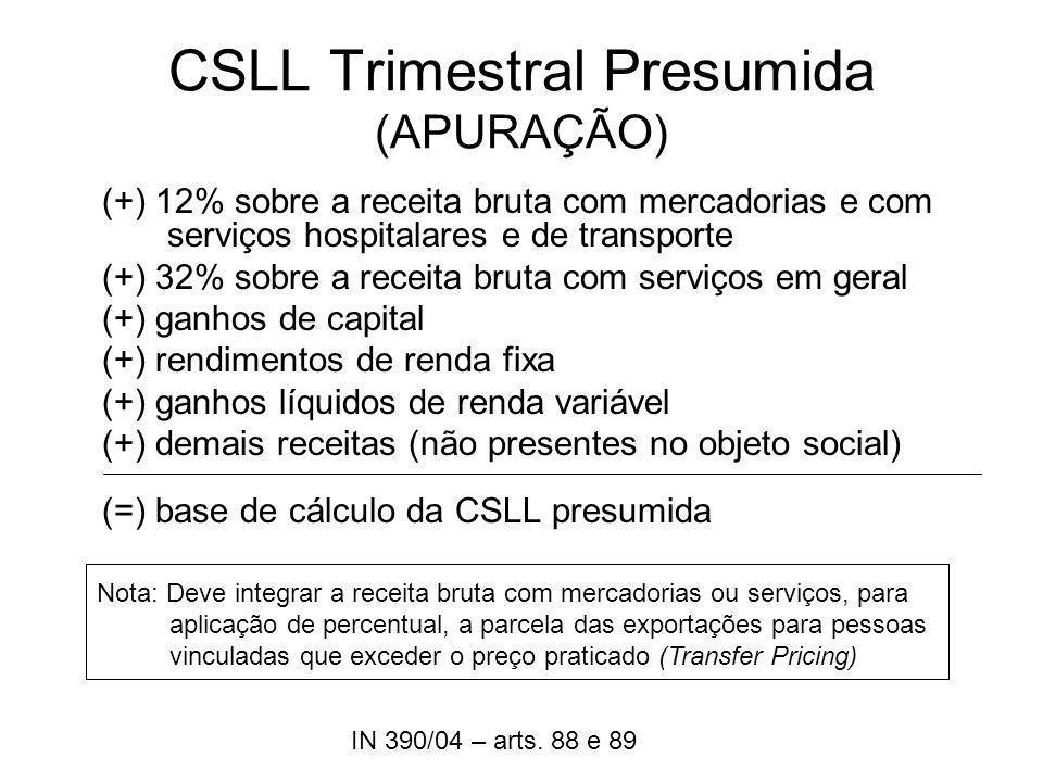 CSLL Trimestral Presumida (APURAÇÃO)