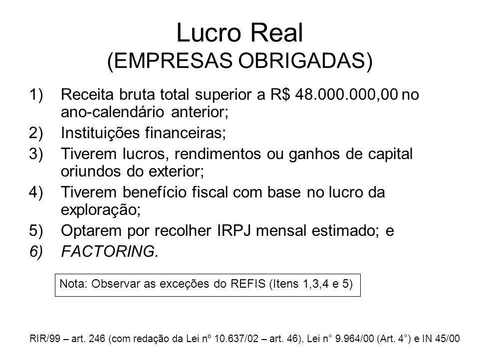 Lucro Real (EMPRESAS OBRIGADAS)