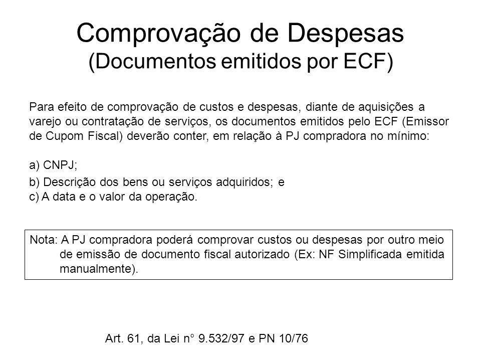 Comprovação de Despesas (Documentos emitidos por ECF)