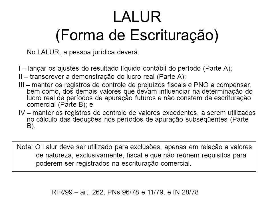 LALUR (Forma de Escrituração)