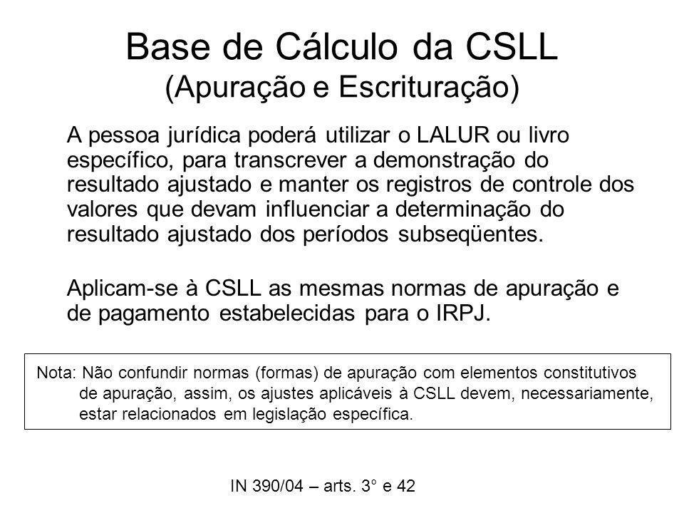 Base de Cálculo da CSLL (Apuração e Escrituração)