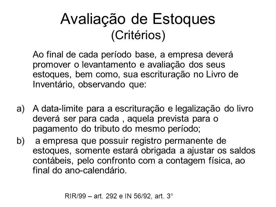 Avaliação de Estoques (Critérios)