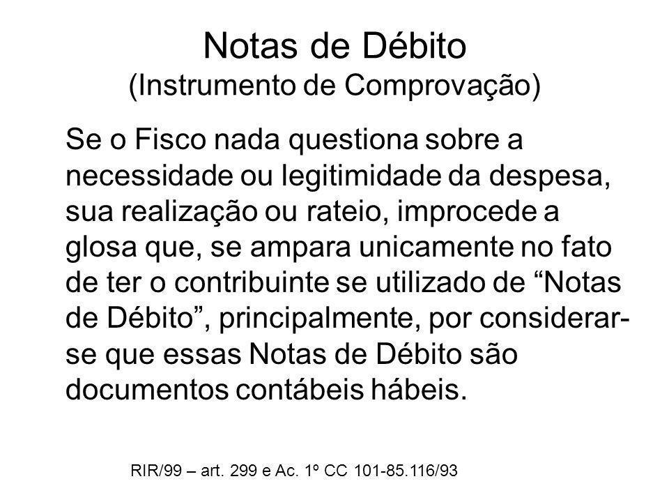 Notas de Débito (Instrumento de Comprovação)