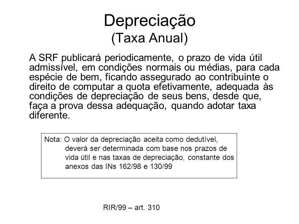 Depreciação (Taxa Anual)