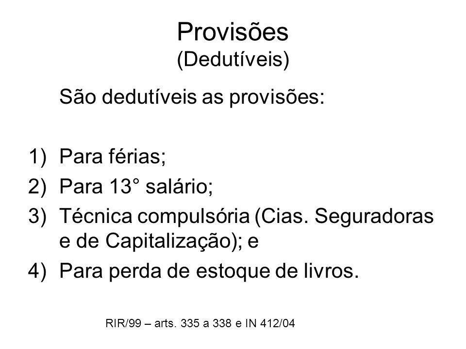 Provisões (Dedutíveis)