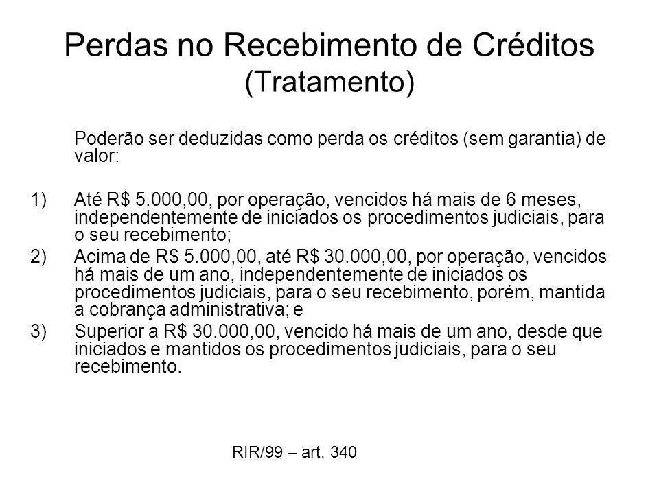 Perdas no Recebimento de Créditos (Tratamento)