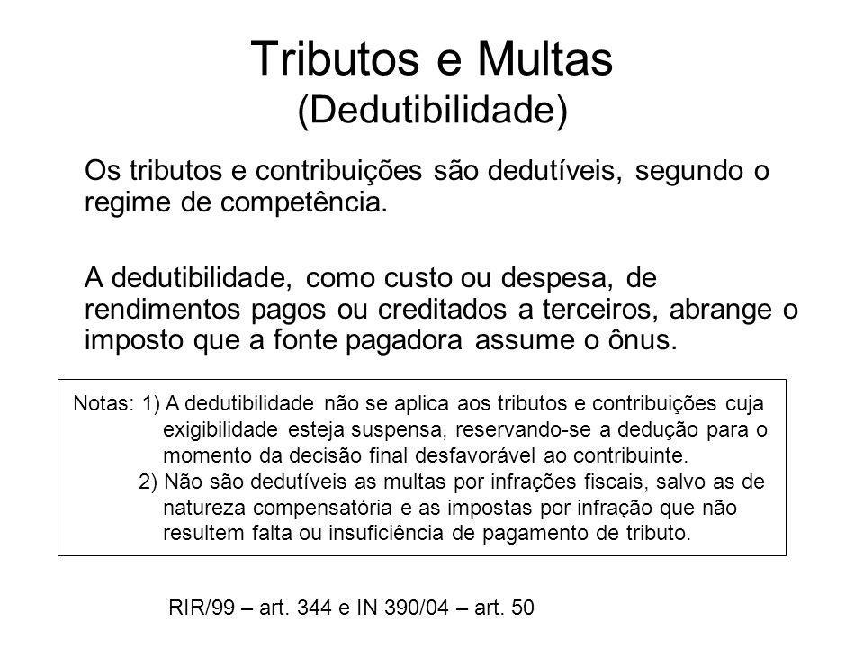 Tributos e Multas (Dedutibilidade)