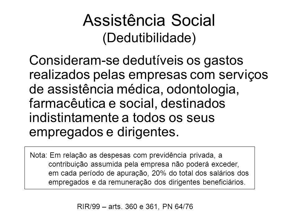 Assistência Social (Dedutibilidade)