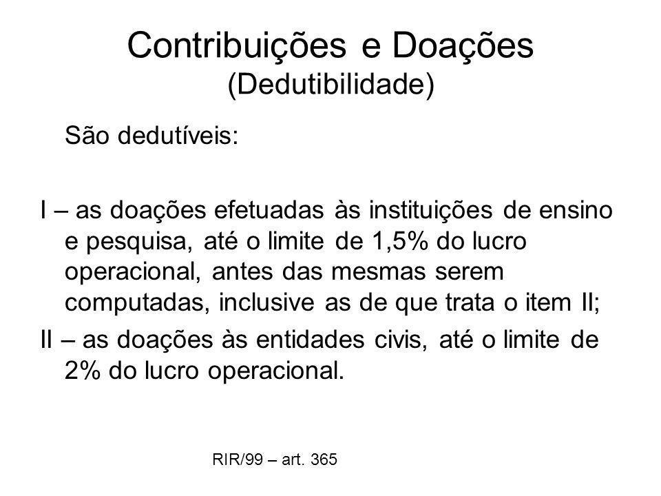 Contribuições e Doações (Dedutibilidade)